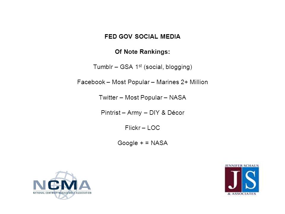 FED GOV SOCIAL MEDIA Of Note Rankings: Tumblr – GSA 1 st (social, blogging) Facebook – Most Popular – Marines 2+ Million Twitter – Most Popular – NASA Pintrist – Army – DIY & Décor Flickr – LOC Google + = NASA