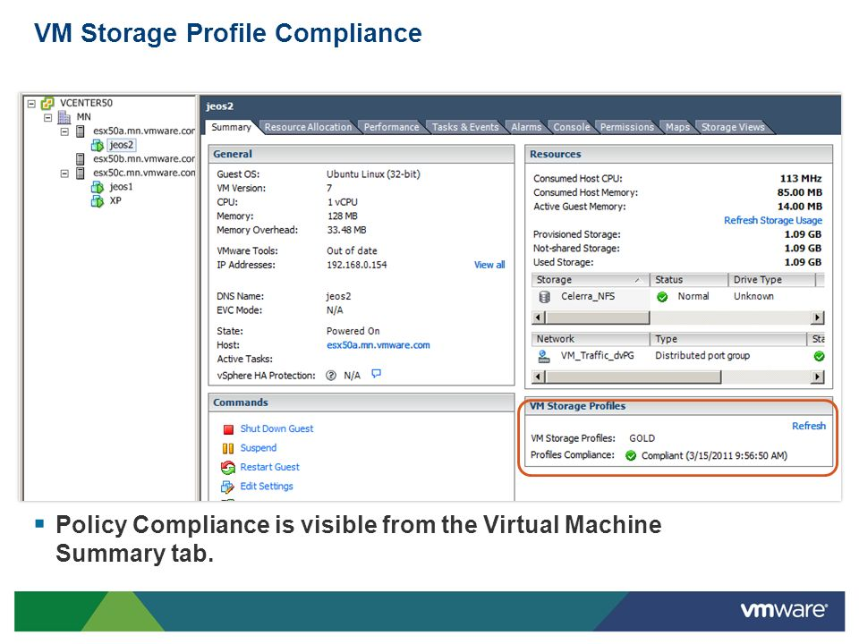 VM Storage Profile Compliance Policy Compliance is visible from the Virtual Machine Summary tab.