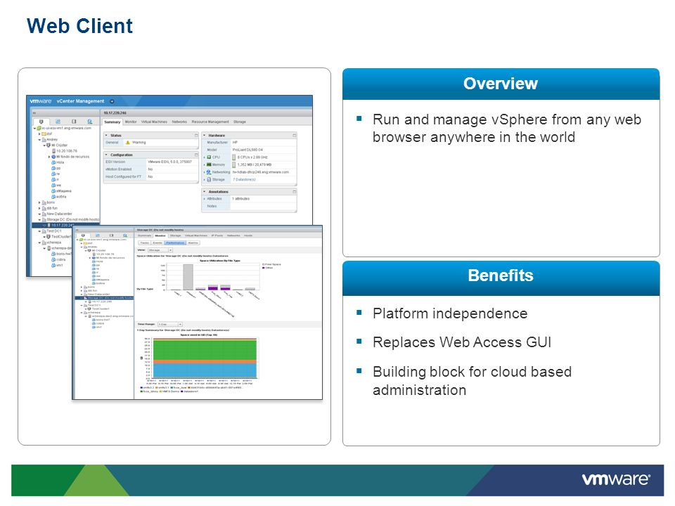 Web Client Run and manage vSphere from any web browser anywhere in the world Platform independence Replaces Web Access GUI Building block for cloud ba