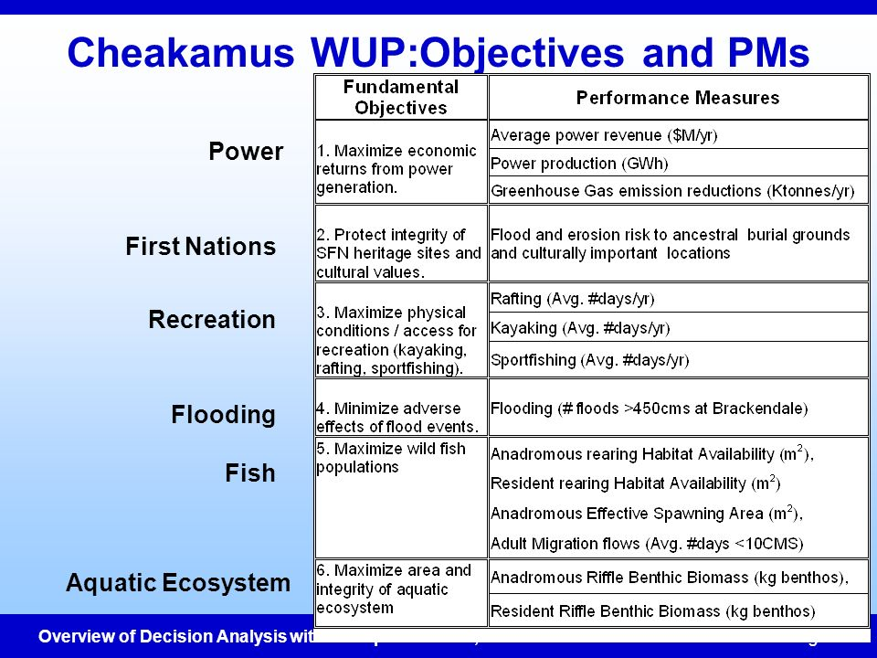Overview of Decision Analysis with examples - Jan 10, 2002ESSA Technologies Cheakamus WUP:Objectives and PMs Power First Nations Recreation Flooding F