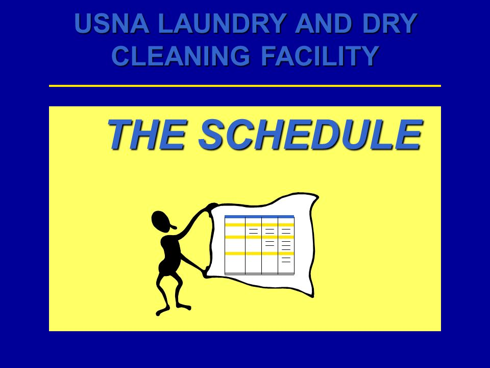 USNA LAUNDRY AND DRY CLEANING FACILITY 122136 USNA AND between 1430 - 1630 TO
