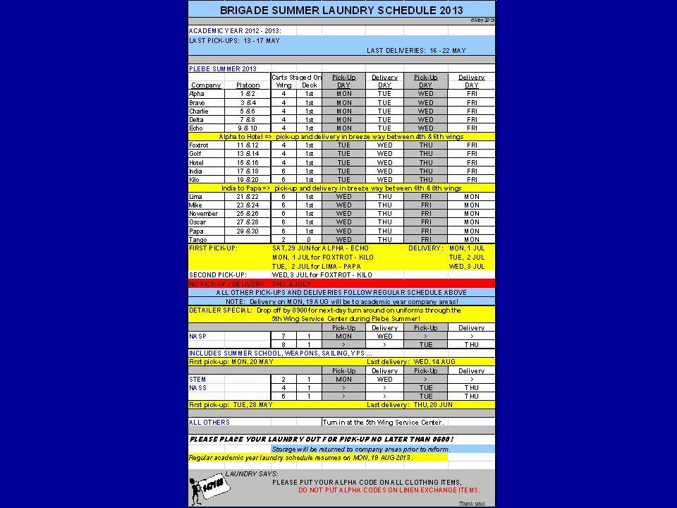 THE HOLIDAY SCHEDULE SAT, 29 JUN SAT, 29 JUN FIRST PICK-UP: ALPHA - ECHO