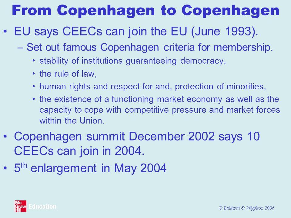 © Baldwin & Wyplosz 2006 From Copenhagen to Copenhagen EU says CEECs can join the EU (June 1993). –Set out famous Copenhagen criteria for membership.