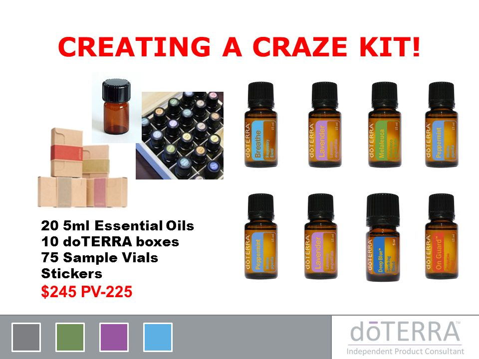 CREATING A CRAZE KIT! 20 5ml Essential Oils 10 doTERRA boxes 75 Sample Vials Stickers $245 PV-225