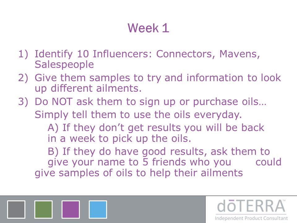 Week 1 1)Identify 10 Influencers: Connectors, Mavens, Salespeople 2)Give them samples to try and information to look up different ailments. 3)Do NOT a