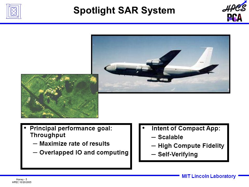 MIT Lincoln Laboratory Haney - 5 HPEC 10/20/2005 Spotlight SAR System Intent of Compact App: – Scalable – High Compute Fidelity – Self-Verifying Princ