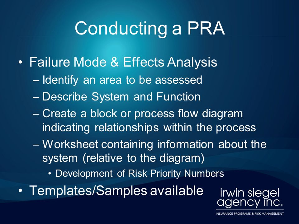 Conducting a PRA Failure Mode & Effects Analysis –Identify an area to be assessed –Describe System and Function –Create a block or process flow diagra