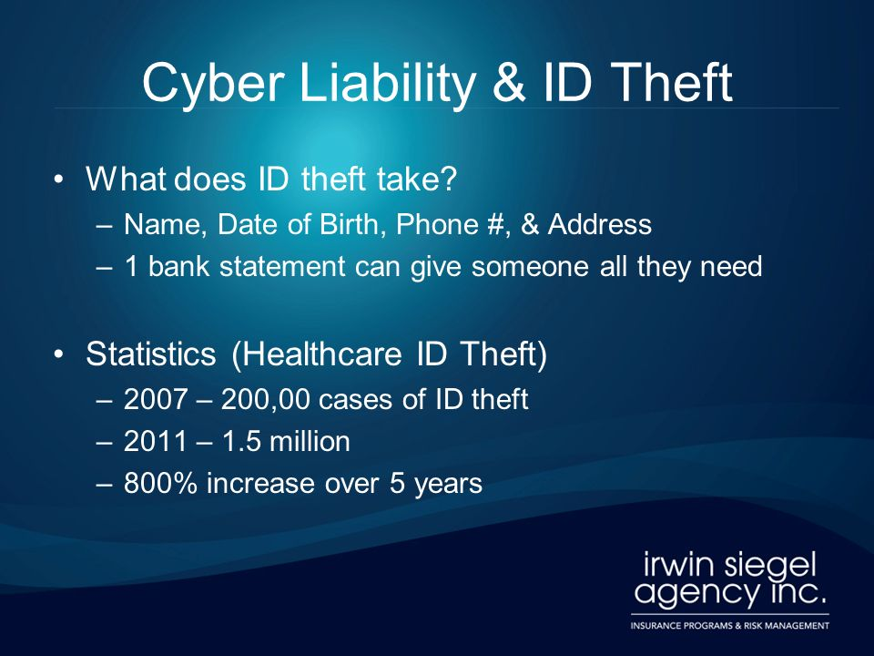 Cyber Liability & ID Theft What does ID theft take? –Name, Date of Birth, Phone #, & Address –1 bank statement can give someone all they need Statisti