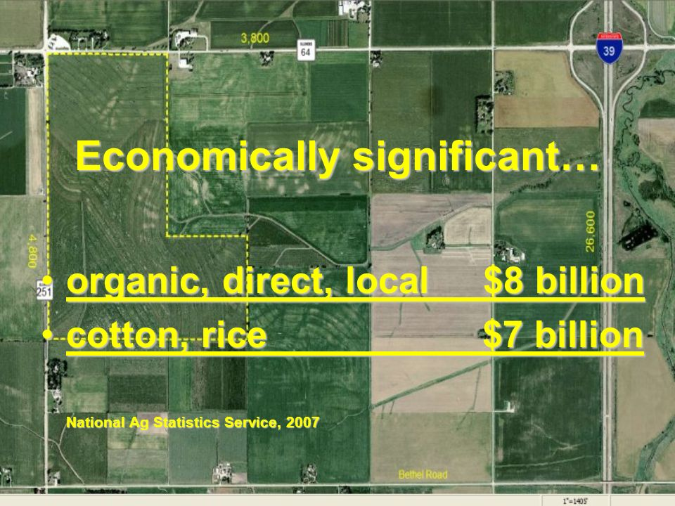 Economically significant… organic, direct, local $8 billionorganic, direct, local $8 billion cotton, rice $7 billioncotton, rice $7 billion National Ag Statistics Service, 2007