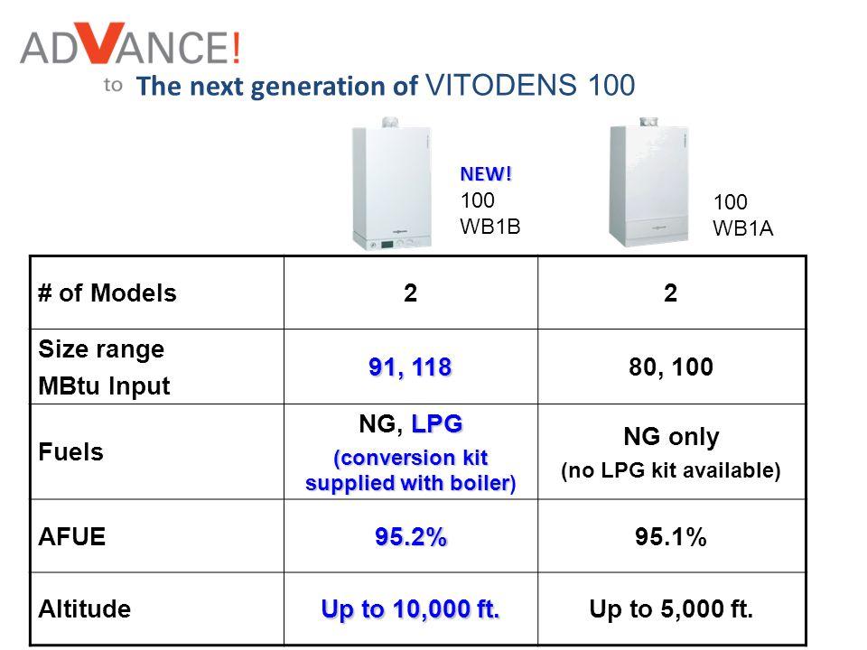 # of Models22 Size range MBtu Input 91, 118 80, 100 Fuels LPG NG, LPG (conversion kit supplied with boiler (conversion kit supplied with boiler) NG on