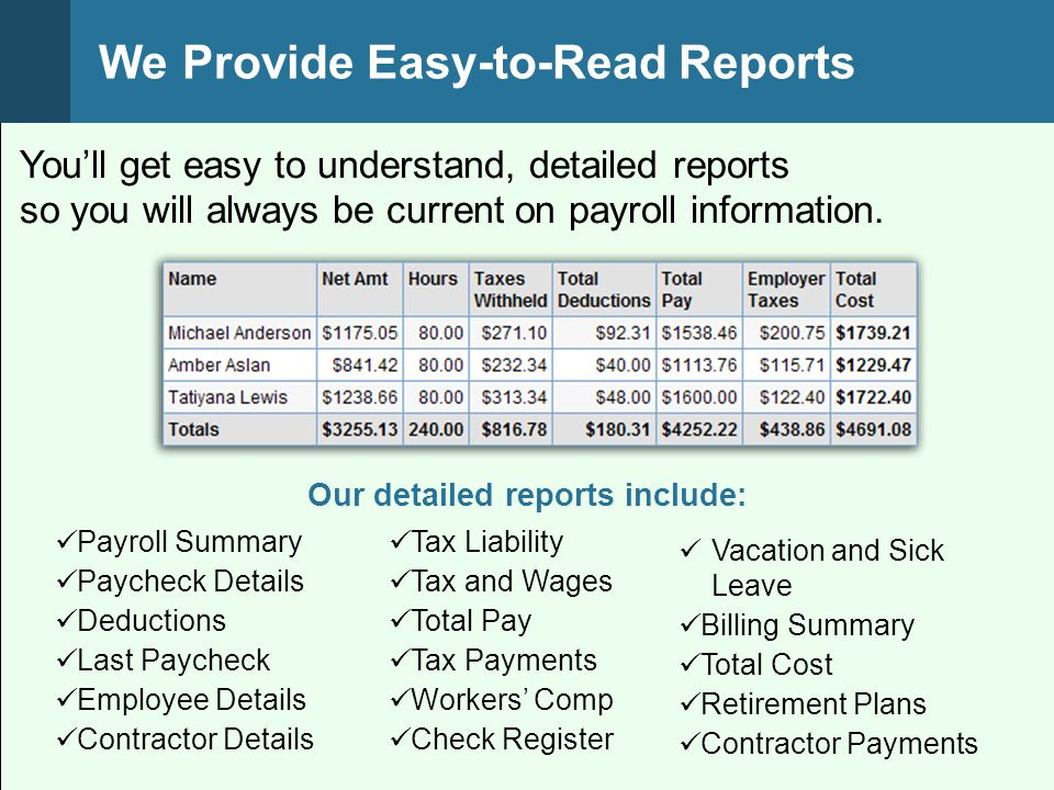 Youll get easy to understand, detailed reports so you will always be current on payroll information.