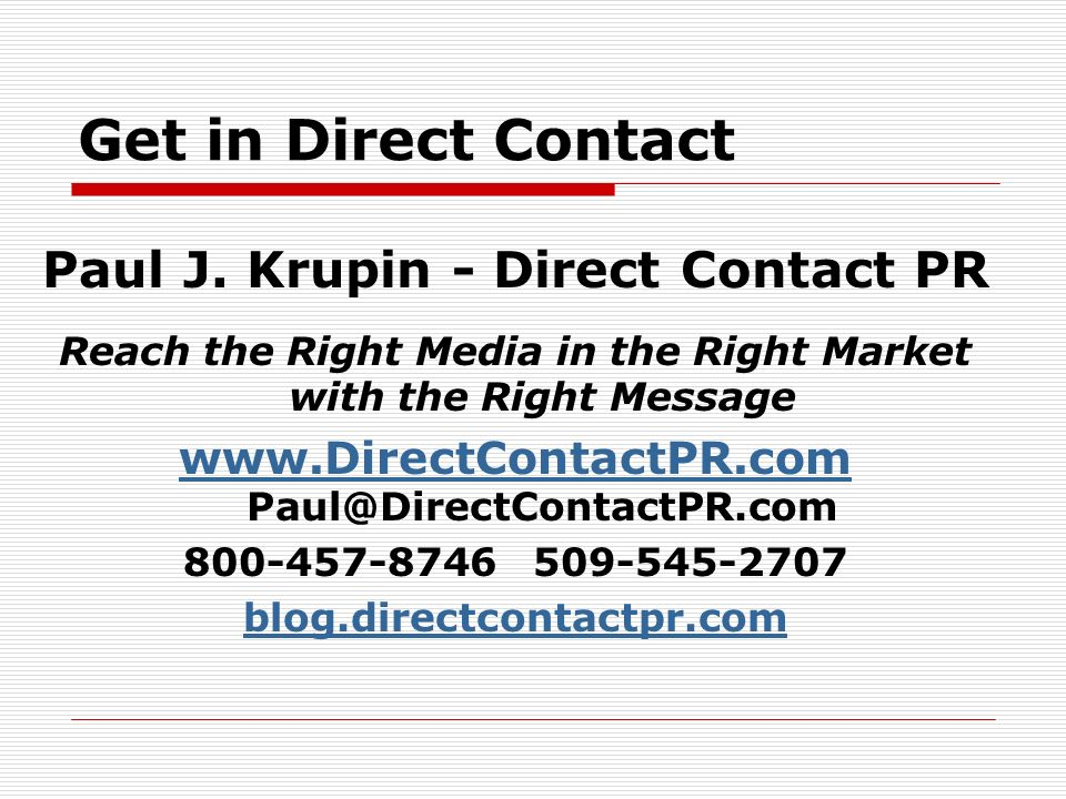 Get in Direct Contact Paul J.