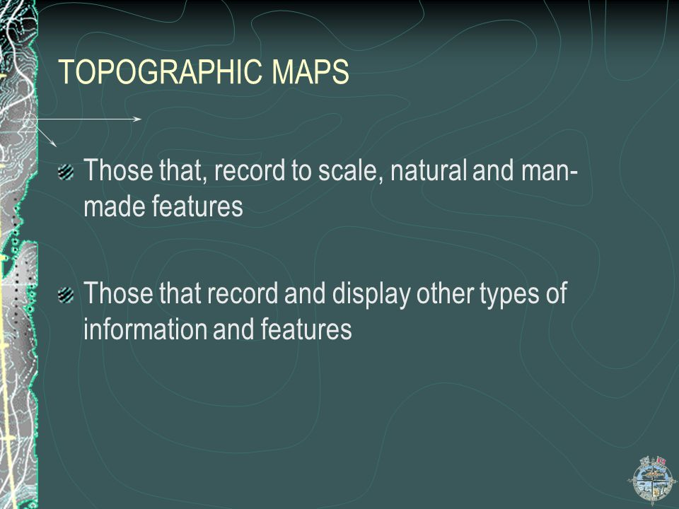 MAP CONVENTIONS TITLE…contd The map number is usually displayed in the upper right corner of the map.