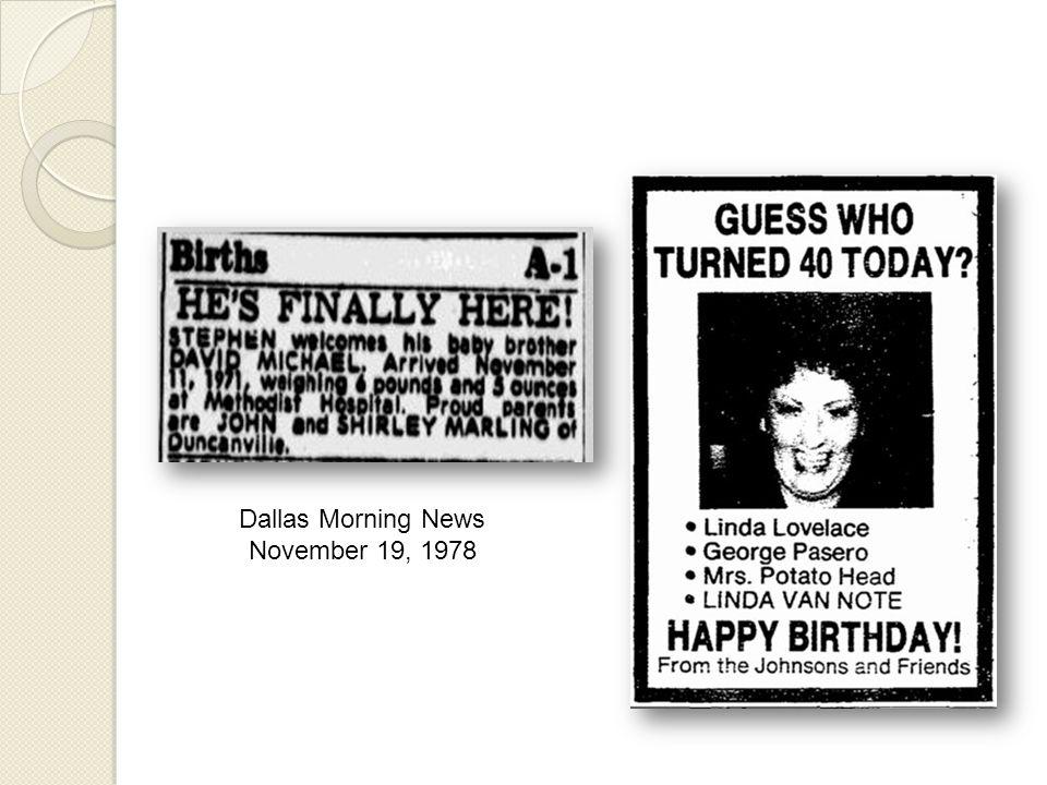 Dallas Morning News November 19, 1978