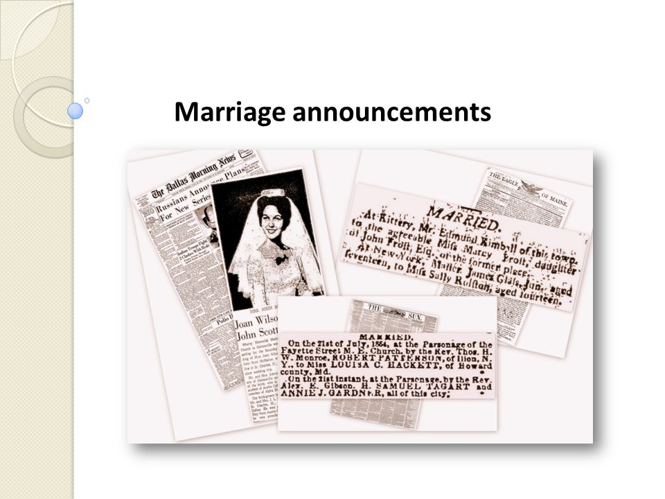 Marriage announcements