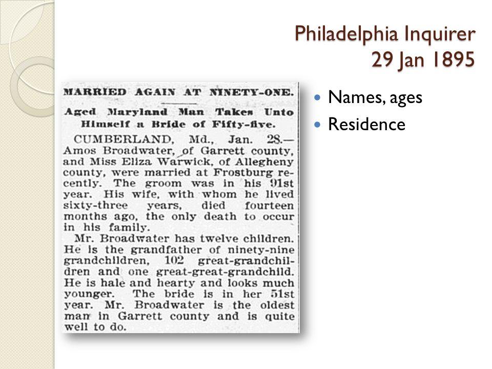 Philadelphia Inquirer 29 Jan 1895 Names, ages Residence