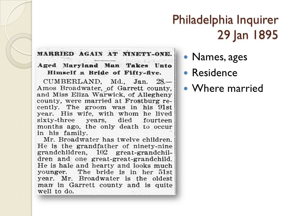 Philadelphia Inquirer 29 Jan 1895 Names, ages Residence Where married