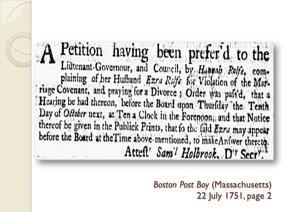 Boston Post Boy (Massachusetts) 22 July 1751, page 2