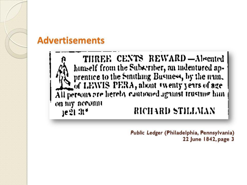Advertisements Advertisements Public Ledger (Philadelphia, Pennsylvania) 22 June 1842, page 3