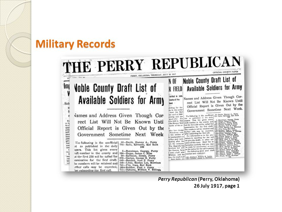 Military Records Military Records Perry Republican (Perry, Oklahoma) 26 July 1917, page 1