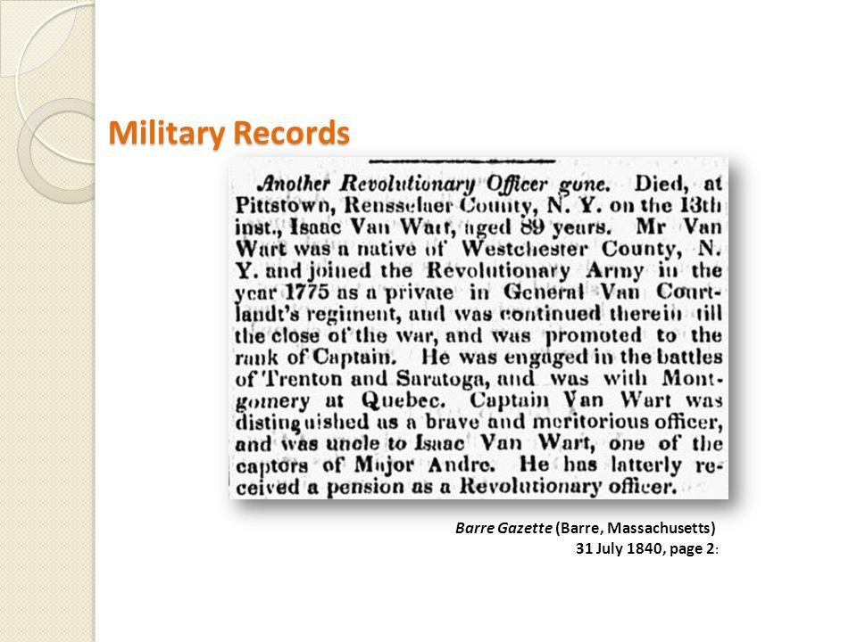 Barre Gazette (Barre, Massachusetts) 31 July 1840, page 2 :