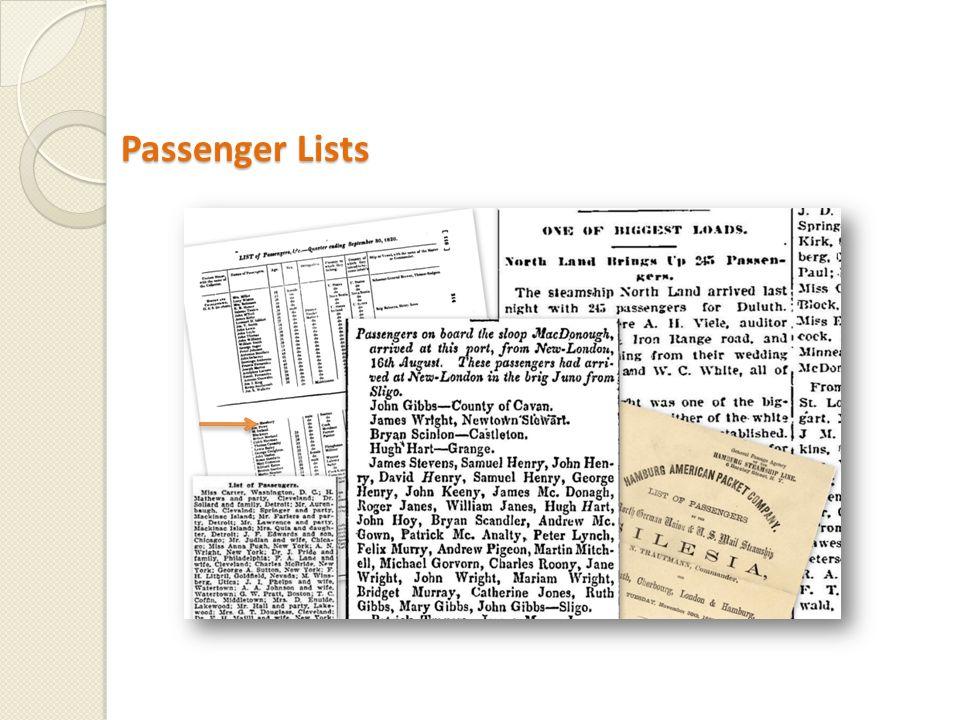 Passenger Lists Passenger Lists