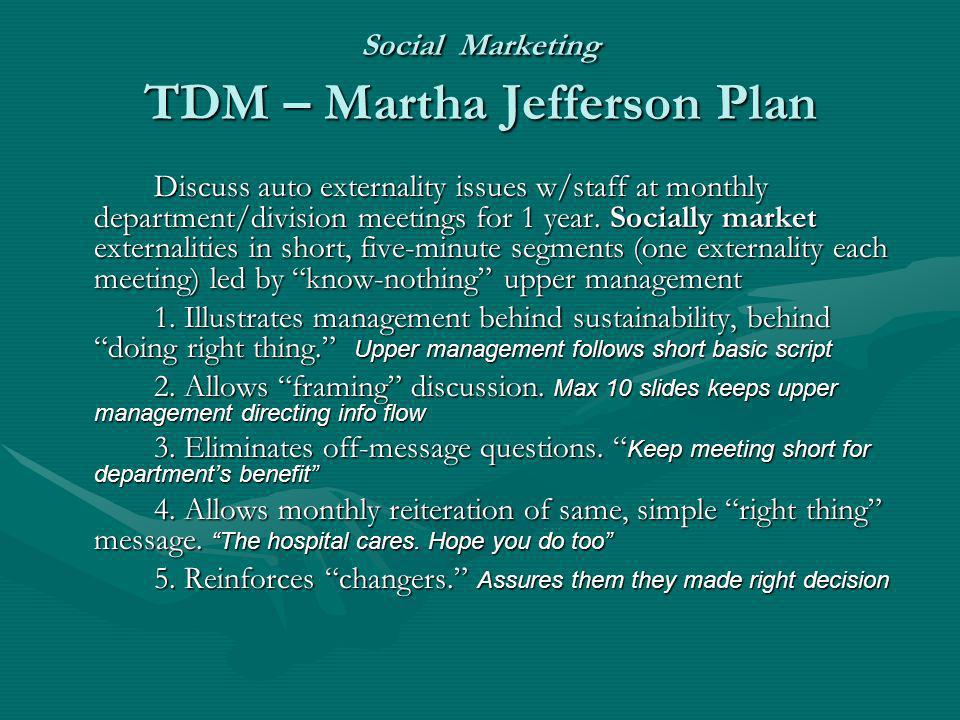 Social Marketing TDM – Martha Jefferson Plan Discuss auto externality issues w/staff at monthly department/division meetings for 1 year. Socially mark