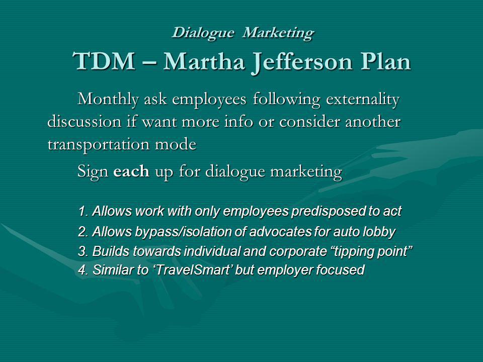 Dialogue Marketing TDM – Martha Jefferson Plan Monthly ask employees following externality discussion if want more info or consider another transporta