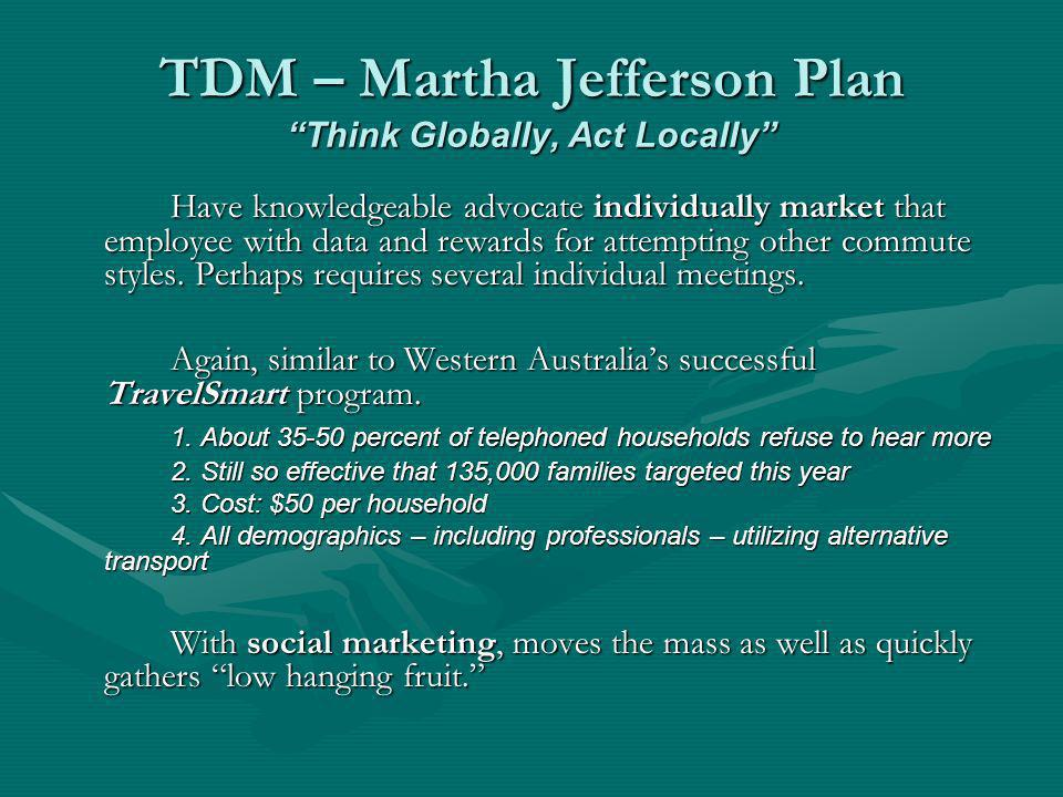 TDM – Martha Jefferson Plan Think Globally, Act Locally Have knowledgeable advocate individually market that employee with data and rewards for attemp