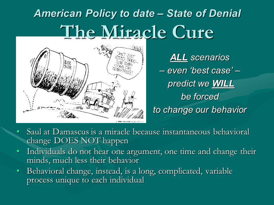 American Policy to date – State of Denial The Miracle Cure ALL scenarios – even best case – predict we WILL be forced to change our behavior Saul at D