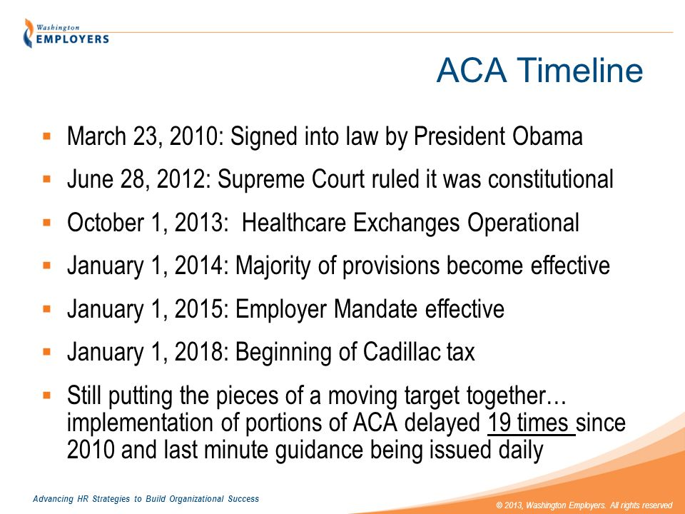 Advancing HR Strategies to Build Organizational Success © 2013, Washington Employers. All rights reserved ACA Timeline March 23, 2010: Signed into law