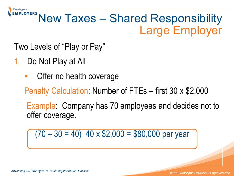 Advancing HR Strategies to Build Organizational Success © 2013, Washington Employers. All rights reserved New Taxes – Shared Responsibility Large Empl
