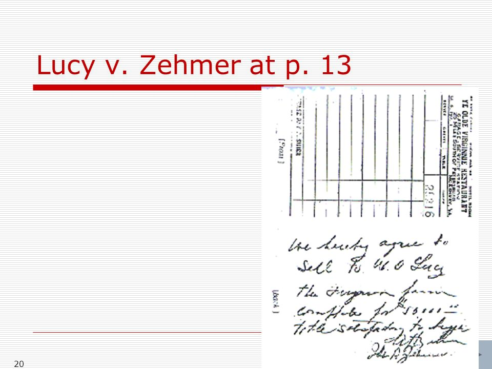 Lucy v. Zehmer at p. 13 20