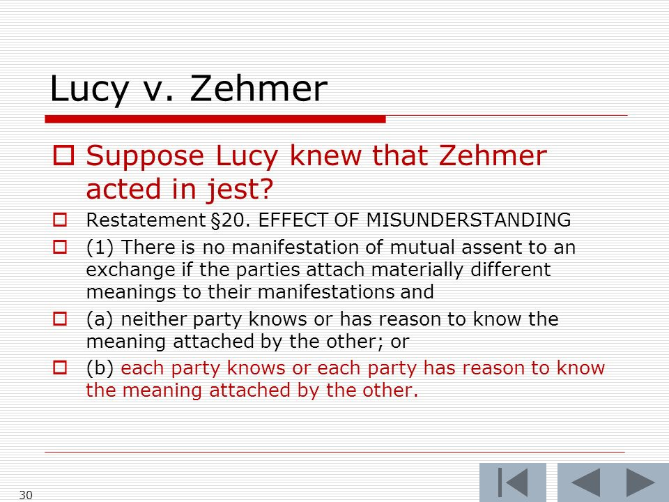 Lucy v. Zehmer 30 Suppose Lucy knew that Zehmer acted in jest.