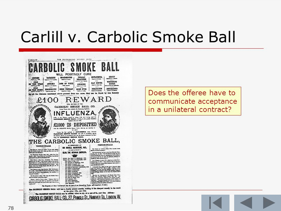 Carlill v. Carbolic Smoke Ball 78 Does the offeree have to communicate acceptance in a unilateral contract?
