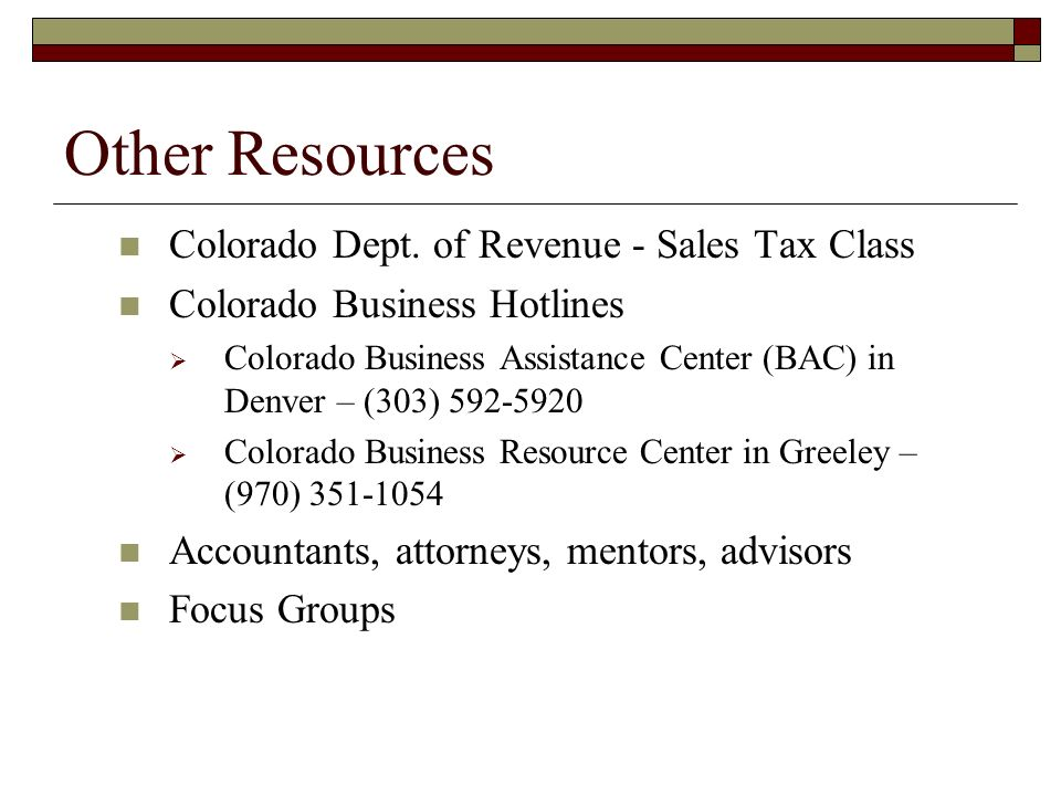 Other Resources Colorado Dept.