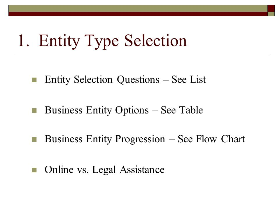 1. Entity Type Selection Entity Selection Questions – See List Business Entity Options – See Table Business Entity Progression – See Flow Chart Online