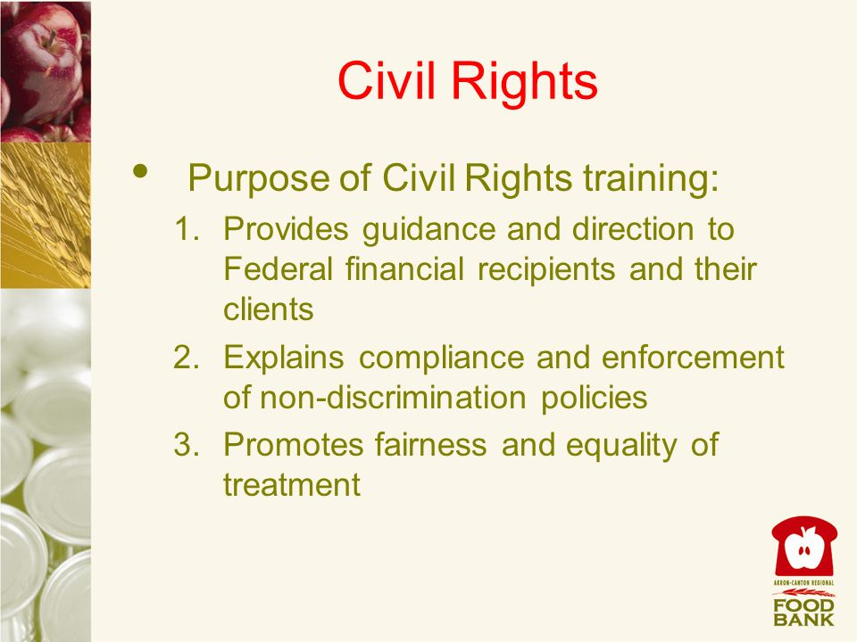 Civil Rights Purpose of Civil Rights training: 1.Provides guidance and direction to Federal financial recipients and their clients 2.Explains complian