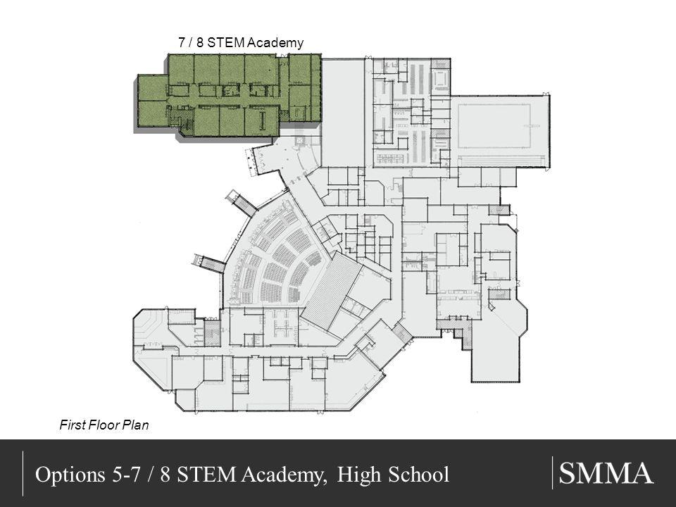 11/11/201314 Title of Slide Subtitle Options 5-7 / 8 STEM Academy, High School 7 / 8 STEM Academy First Floor Plan
