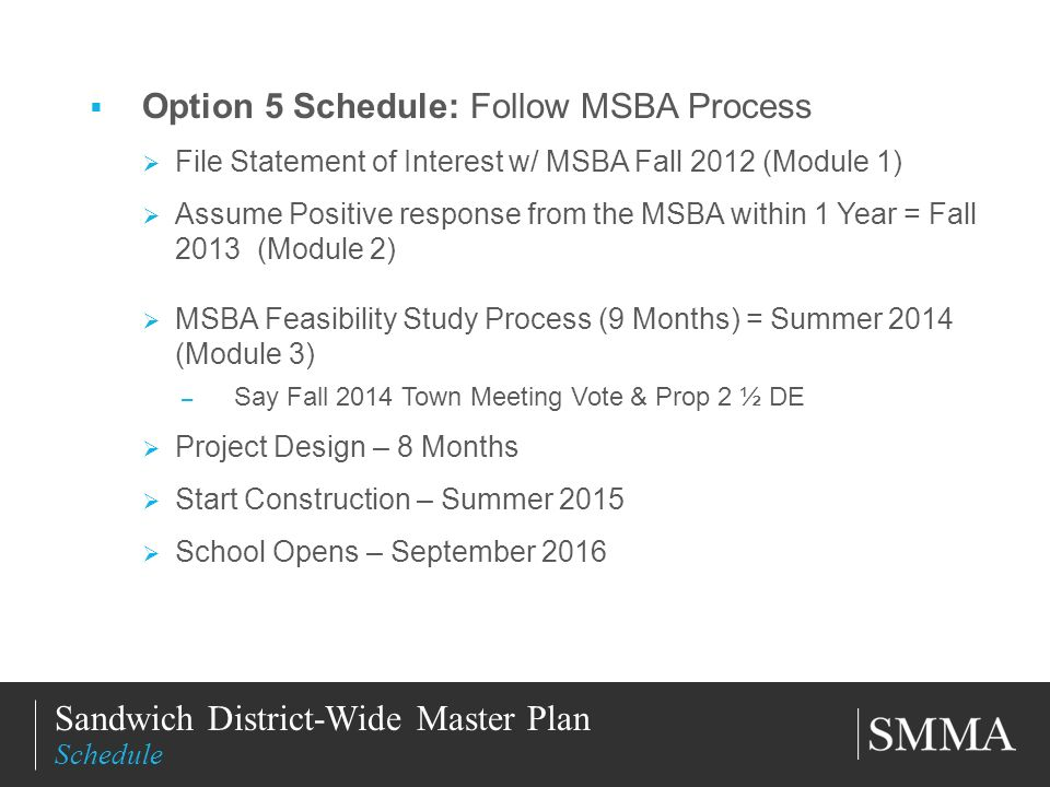 11/11/201318 Title of Slide Subtitle Option 5 Schedule: Follow MSBA Process File Statement of Interest w/ MSBA Fall 2012 (Module 1) Assume Positive re