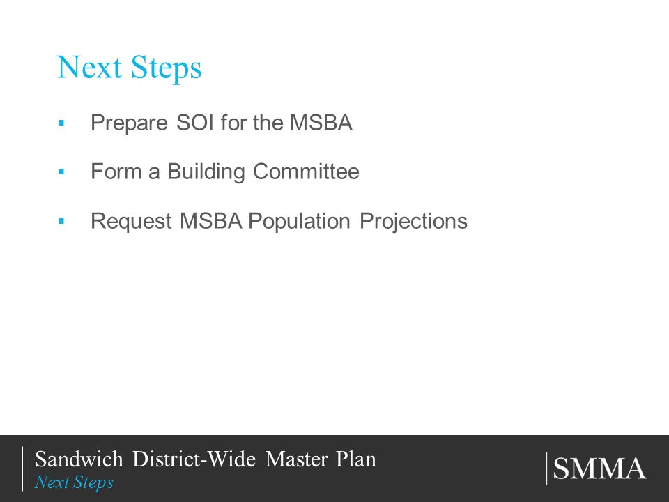 11/11/201320 Title of Slide Subtitle Next Steps Prepare SOI for the MSBA Form a Building Committee Request MSBA Population Projections Sandwich District-Wide Master Plan Next Steps