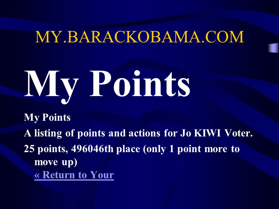 MY.BARACKOBAMA.COM My Points A listing of points and actions for Jo KIWI Voter.