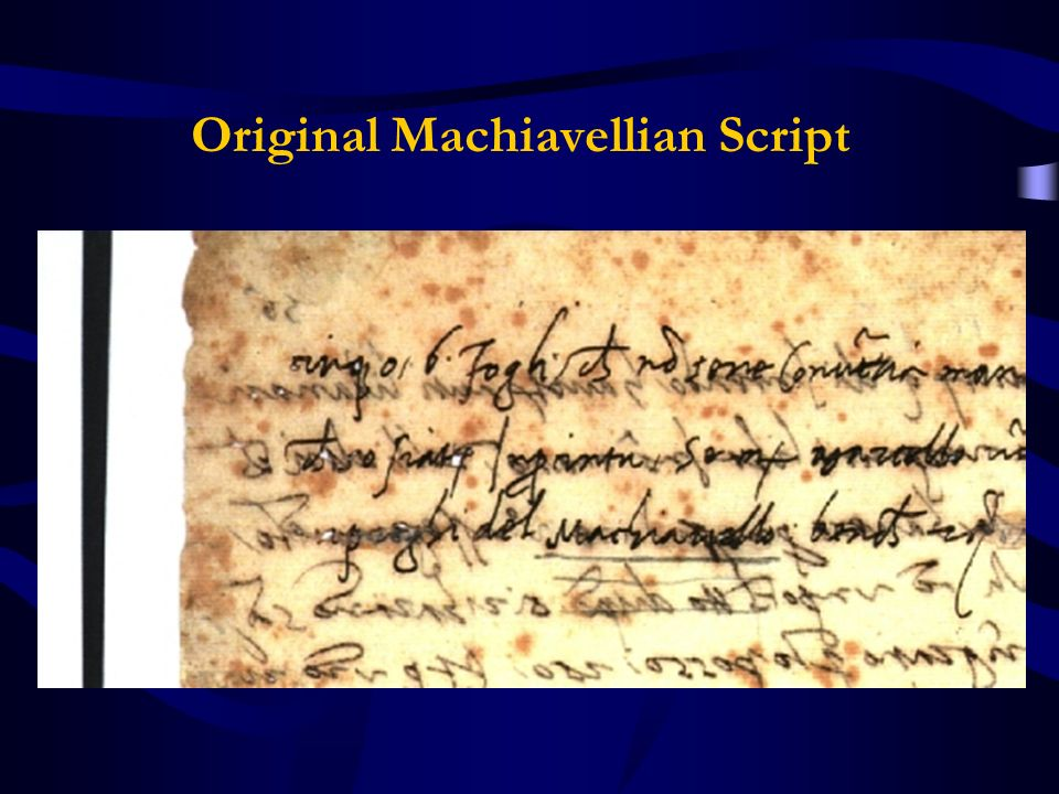 Original Machiavellian Script