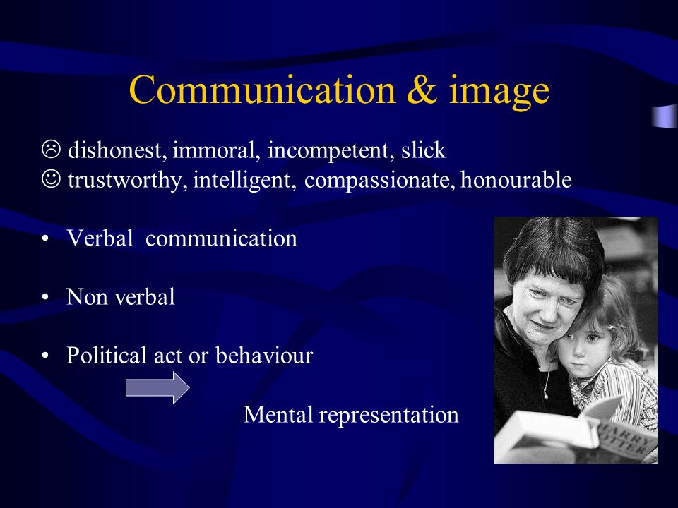 Communication & image dishonest, immoral, incompetent, slick trustworthy, intelligent, compassionate, honourable Verbal communication Non verbal Political act or behaviour Mental representation