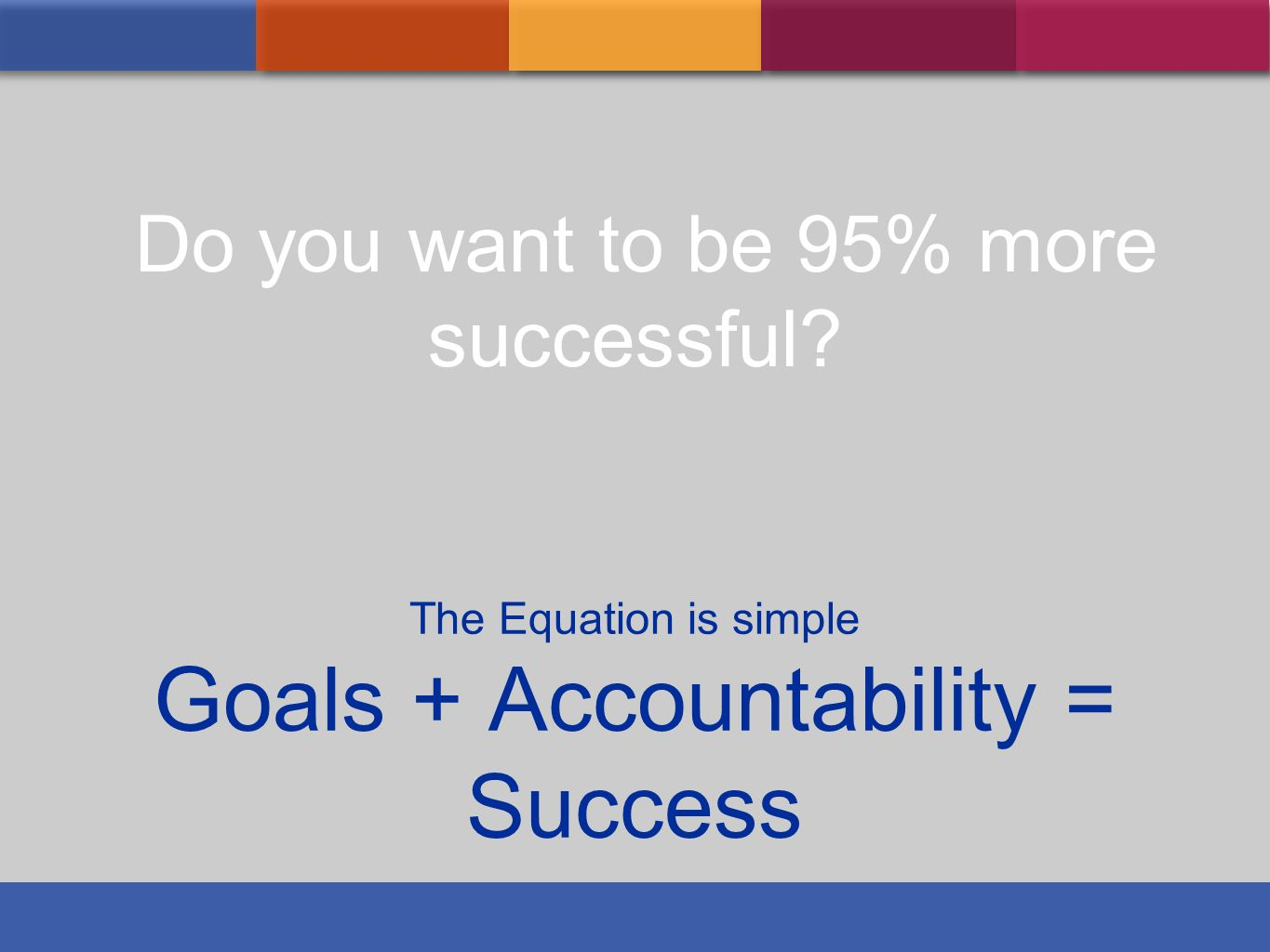 The Equation is simple Goals + Accountability = Success Do you want to be 95% more successful?