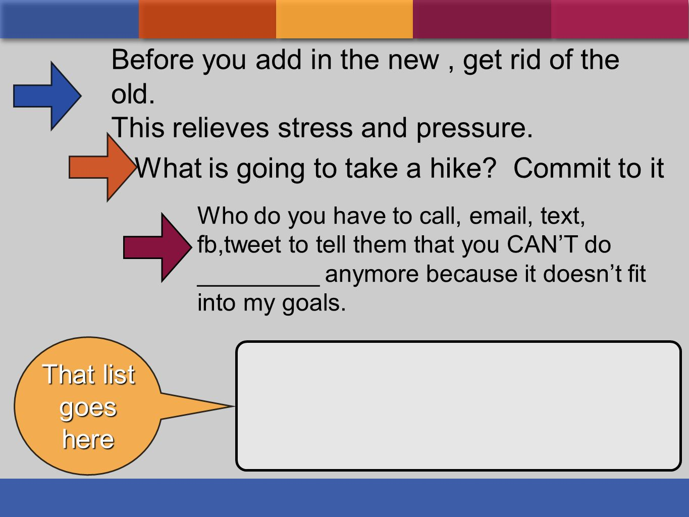 What is going to take a hike? Commit to it Who do you have to call, email, text, fb,tweet to tell them that you CANT do _________ anymore because it d