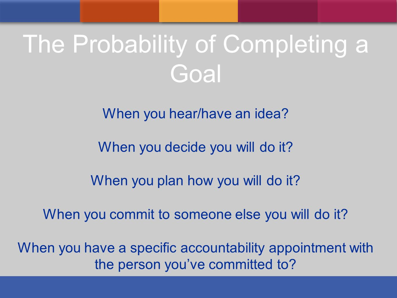 The Probability of Completing a Goal When you hear/have an idea? When you decide you will do it? When you plan how you will do it? When you commit to