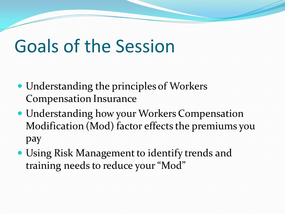 Goals of the Session Understanding the principles of Workers Compensation Insurance Understanding how your Workers Compensation Modification (Mod) fac