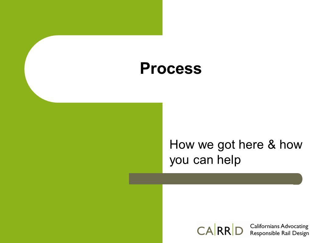 Process How we got here & how you can help