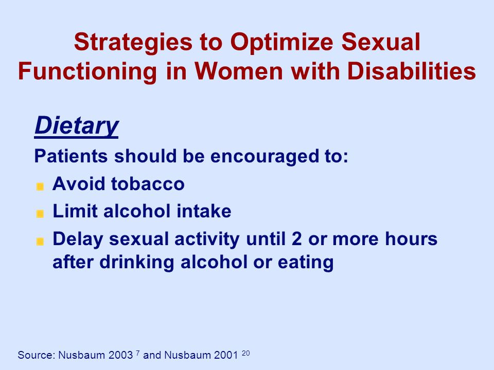 Strategies to Optimize Sexual Functioning in Women with Disabilities Dietary Patients should be encouraged to: Avoid tobacco Limit alcohol intake Dela
